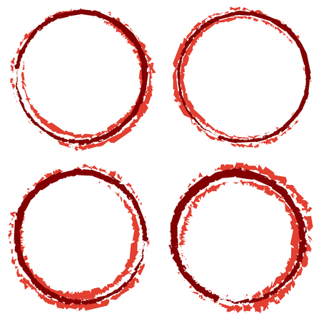 Grungy, textured circles with 4 line width. Stained smudge, smear borders.
