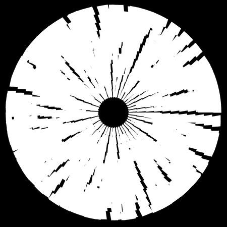 converging: Textured disc, circle element. Monochrome geometric shape Illustration