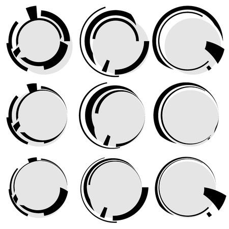irregular shapes: Circular geometric shapes. Circles with irregular lines. Abstract hi-tech, futuristic heads up display element templates