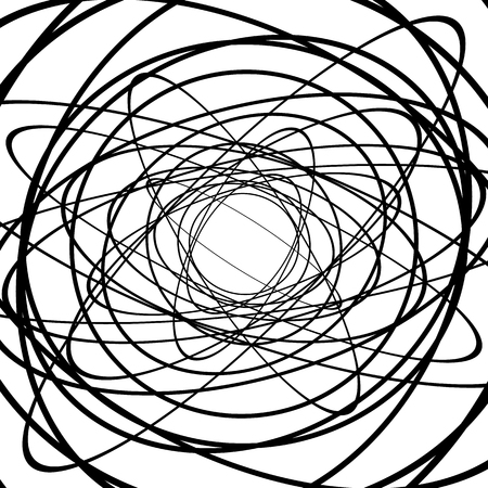 wriggle: Squiggle, squiggly circles, ovals, lines. Spiral made of random circles. Abstract art.