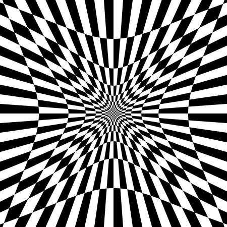 Checkered pattern with distortion effect. Deformed, irregular chessboard, checkerboard background.