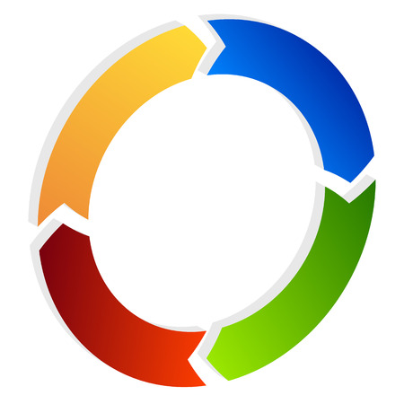 Segmented circle arrow. Circular arrow icon. Process, progres, rotation icon. Illustration