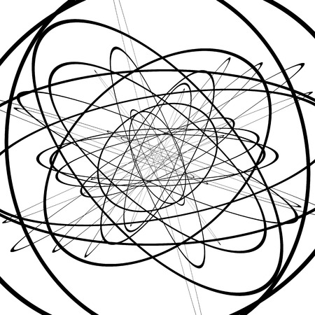 squiggle: Squiggle, squiggly circles, ovals, lines. Spiral made of random circles. Abstract art.