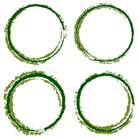garabatos: Sucio, círculos texturizados con un ancho de 4 líneas. manchas de colores, frotis de fronteras.