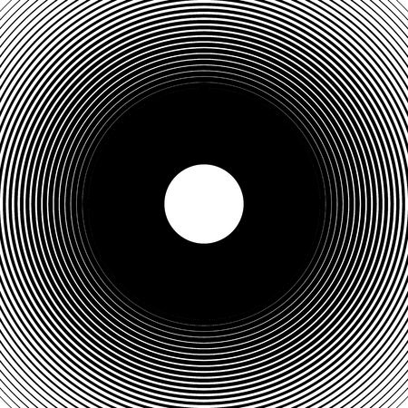 Concentric circles, radial lines pattern(s). Monochrome abstract element(s)