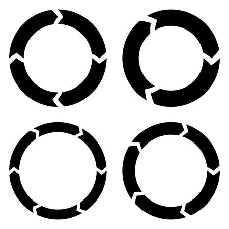 Segmented circle arrow. Circular arrow icon. Process, progres, rotation icon. 矢量图像