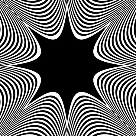 radiating: Abstract element with radiating lines. Monochrome concentric, radial pattern. Distortion, deformation effect on circular shape. Illustration
