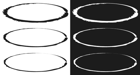 encircle: Grungy circle element set - Circles with smudged, smeared paint effect Illustration