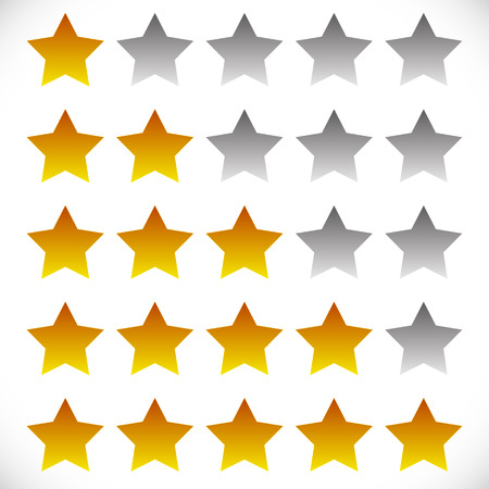 awful: Star rating symbols with 6 star. Quality, feedback, experience, level concepts.