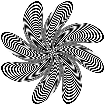 pucker: Abstract geometric element. Rotating shape of radial lines with distortion, deformation effect