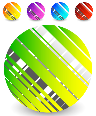 Striped circle icon in 5 colors – Textured circle with lines