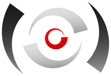 semicircle: Crosshair icon, target symbol. Pinpoint, bullseye sign. Concentric, segmented circles with red dot at center Illustration