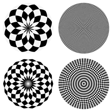 Elements with checkered marble-like circular pattern. Concentric chequered textures Illustration