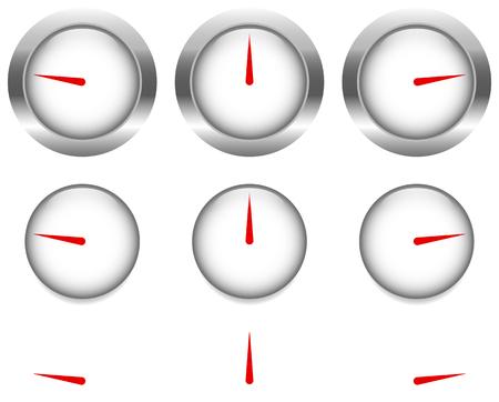 speedmeter: Generic gauges, dials with red clock hand, pointer Illustration