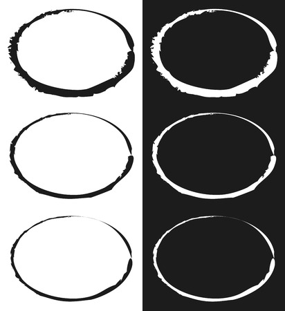 Grungy circle element set - Circles with smudged, smeared paint effect Illustration