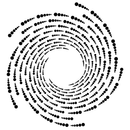 Circle halftone element, circular half-tone pattern. Spiral, vortex, swirl shape. Vetores