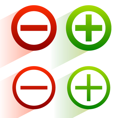 addition: Plus, minus signs. Addition, subtraction icons, symbols with diagonal shadow