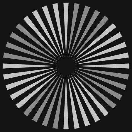 Cercle géométrique avec des éléments transparents. Motif spirale abstrait circulaire avec lignes radiales et concentriques du centre