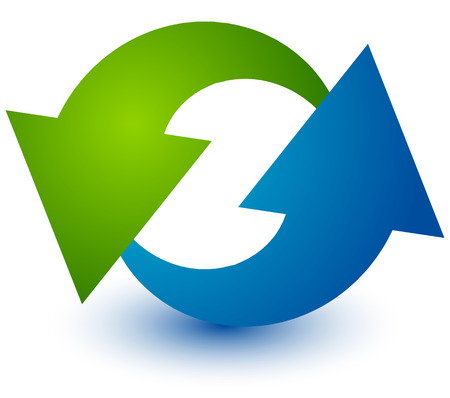 gyration: Pair of arrows in circle. Circular arrows. Recycling, loop or cycle icon, symbol in green and blue colors Illustration