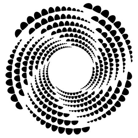 Circle halftone element, circular half-tone pattern. Spiral, vortex, swirl shape.