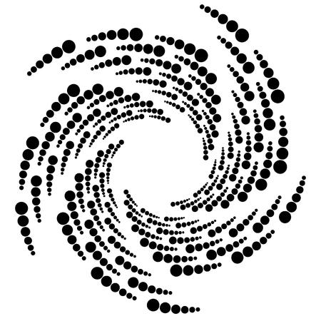 cíclico: Círculo elemento de medias tintas, patrón circular de medio tono. Espiral, vórtice, la forma de remolino. Vectores