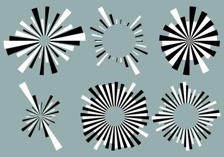 Set 6 radial lines, rays, beams elements. Various starburst, sunburst shapes with irregular lines Illustration