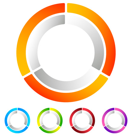 segmented: Segmented circle abstract icon. Circular geometric  , icon in 4 colors. Concentric circles, ring element