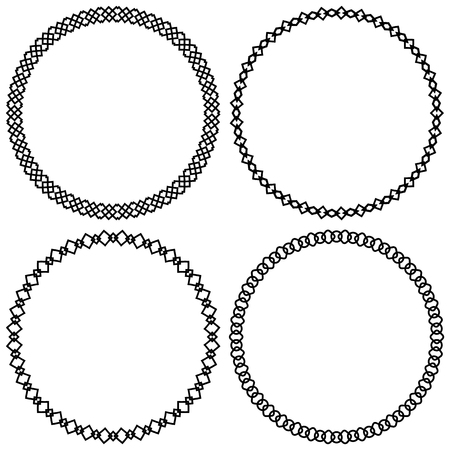 centric: Set of geometric circle elements, frames. Abstract circle shapes Illustration
