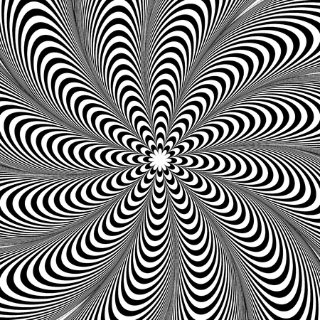distortion: Abstract element with radiating lines. Monochrome concentric, radial pattern. Distortion, deformation effect on circular shape. Illustration
