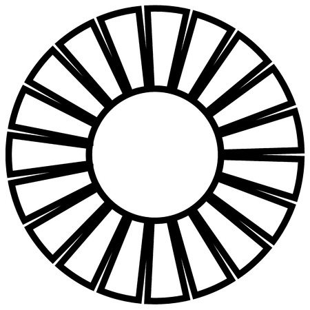 Geometric circle element made of radiating rectangles. Abstract circle shape. Vettoriali
