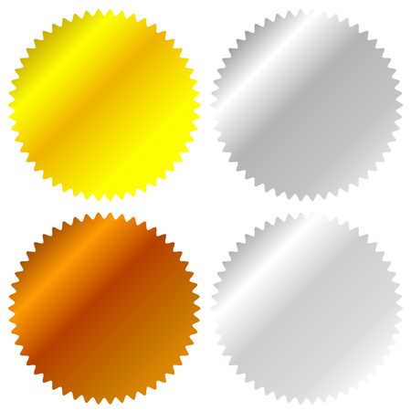 gold silver bronze: Flat gold, silver, bronze badge, award icons