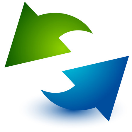 Pair of arrows in circle. Circular arrows. Recycling, loop or cycle icon, symbol in green and blue colors Illustration