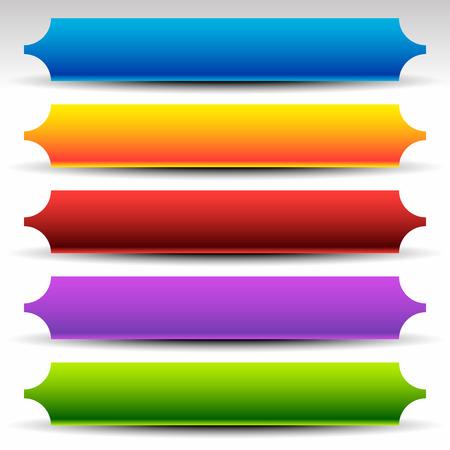 Banner, button (plaque) background, shape set in vibrant colors Illustration