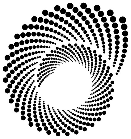 volute: Circle halftone element, circular half-tone pattern. Spiral, vortex, swirl shape.