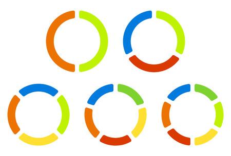 Zet taartdiagrammen, grafieken in 2,3,4,5,6 segmenten. Gesegmenteerde cirkels. Kleurrijke iconen. Stock Illustratie