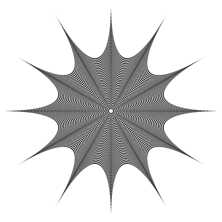deformation: Abstract geometric element. Rotating shape of radial lines with distortion, deformation effect