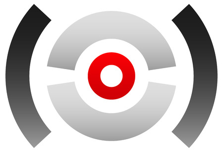 Crosshair icon, target symbol. Pinpoint, bullseye sign. Concentric, segmented circles with red dot at center Illustration