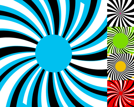 Set of 4 radial lines background. Concentric stripes pattern. Circular element.