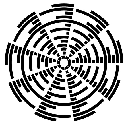 whirlpool: Circular element with radiating lines. Radial circle shape. Abstract illustration Illustration