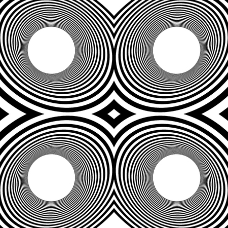 radiating: Pattern with mirrored ovals, ellipses, abstract repeatable black and white background Illustration