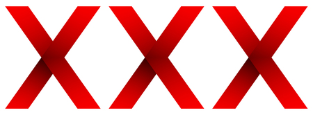Triple red cross, X letters for as confidential icon or for adults only concepts