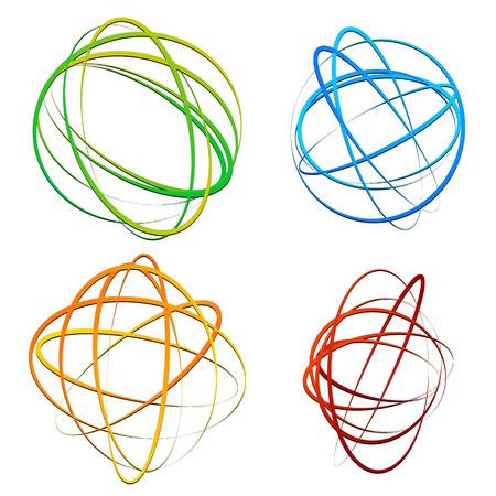 elipse: Círculo elemento de diseño con ovalada al azar, formas de elipse Vectores