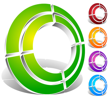 Segmented circle abstract icon. Circular geometric  , icon in 4 colors. Concentric circles, ring element