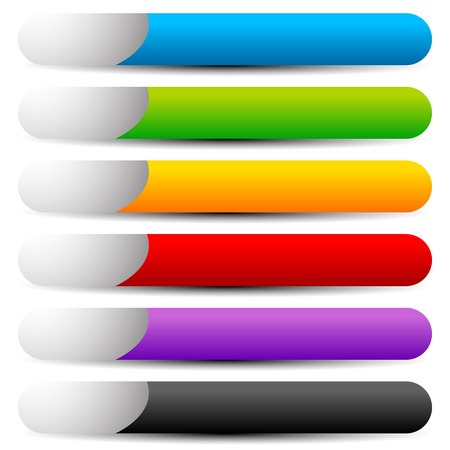 Colorful button, banner shapes with space for symbol and text