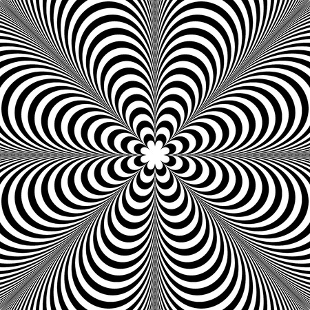 Abstract element with radiating lines. Monochrome concentric, radial pattern. Distortion, deformation effect on circular shape. Illustration