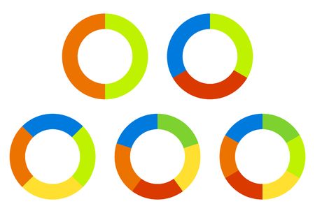 segmented: Set pie charts, graphs in 2,3,4,5,6 segments. Segmented circles. Colorful icons.