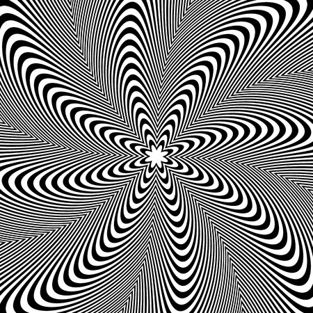 Rotation pattern, circular background. Radiating lines abstract element. Radial rotating shape.