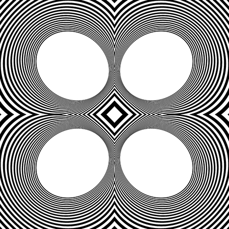 Pattern with mirrored ovals, ellipses, abstract repeatable black and white background Illustration