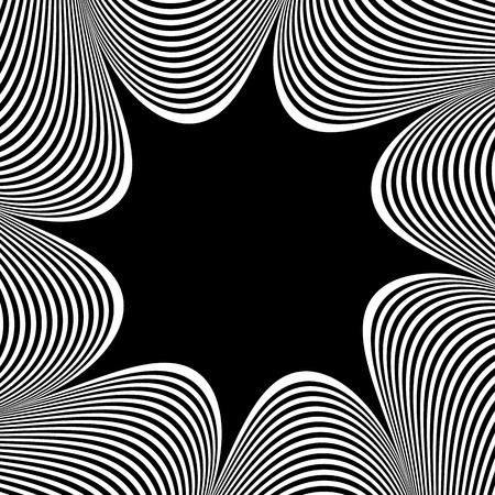 deformation: Abstract element with radiating lines. Monochrome concentric, radial pattern. Distortion, deformation effect on circular shape. Illustration
