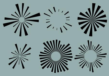 irregular shapes: Set 6 radial lines, rays, beams elements. Various starburst, sunburst shapes with irregular lines Illustration